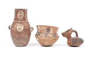 THREE PERUVIAN POTTERY VESSELS