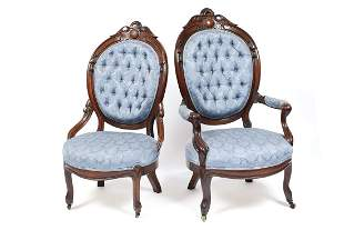 PAIR OF COMPANION AMERICAN VICTORIAN PARLOR CHAIRS