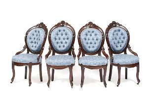 SUITE OF FOUR VICTORIAN PARLOR CHAIRS