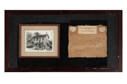 WOODEN FRAME FROM THE HOMESTEAD OF ABRAHAM LINCOLN ON A