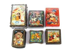 SIX RUSSIAN LACQUER BOXES
