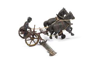 WILKINS CAST IRON HORSE DRAWN TRACTOR WITH HAY CUTTER