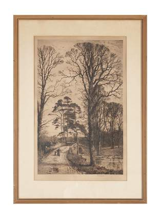 """FRAMED ETCHING """"CHARLCOTE"""" AFTER FRED SLOCOMBE"""