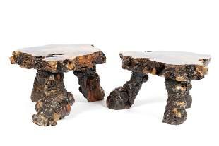 PAIR BURLWOOD ROOT END TABLES