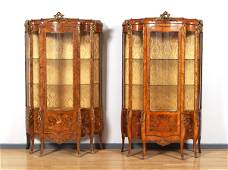 PAIR OF MARQUETRY AND ORMOLU DISPLAY CABINETS