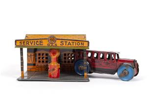 MARX TIN TOY GAS SERVICE STATION & CAR