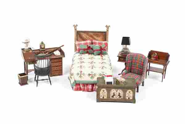 PERIOD INSPIRED DOLLHOUSE MINIATURE BEDROOM SET