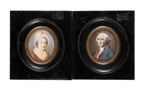 GEORGE AND MARTHA WASHINGTON PORTRAIT MINIATURES