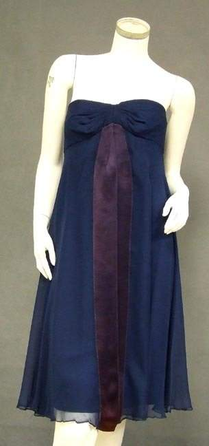 1960's Blue Chiffon Strapless Sarmi Cocktail Dress Wrap