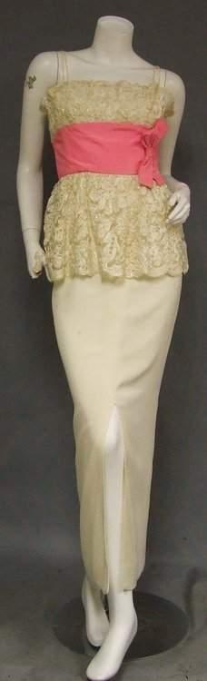 Wilson Folmar Cream Lace & Crepe 1960s Bombshell Dress
