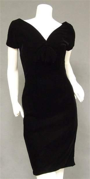 Suzy Perette 1950's Black Velvet Vintage Cocktail Dress