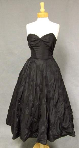 1950's Strapless Black Taffeta Cocktail Dress w/ Jacket