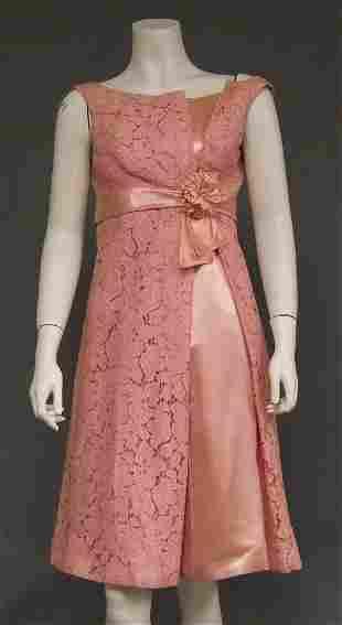 Pink Lace & Satin Asymmetrical 1960's Cocktail Dress