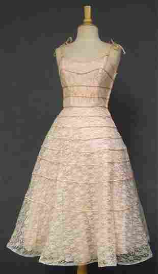 Lot of 3 Matching Pink Lace 1950's Bridesmaid Dresses