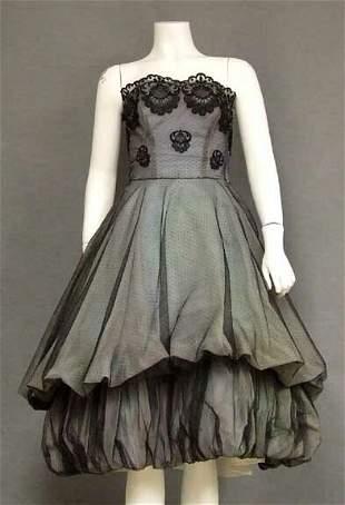 Pont D'Esprit Tulle 1950's Cocktail Dress Balloon Skirt
