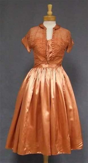 Burnt Orange Satin Strapless 1950s Prom Dress Lace Jack