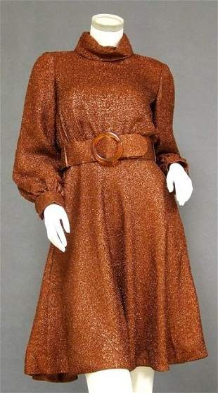 Shimmering Sarmi Rust Colored 1960's Cocktail Dress
