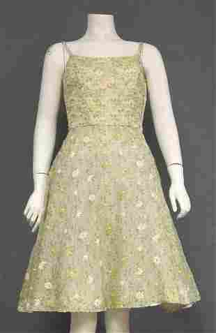 Embroidered Voile Vintage Dress from 1957
