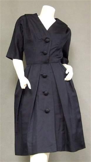 Suzy Perette Navy Faille 1950's Cocktail Dress