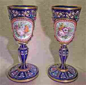 """Pair Moser Era 11"""" Jeweled Glass Chalices Vases"""