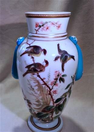 Opal Art Glass Vase Applied Teardrops Enamel Birds