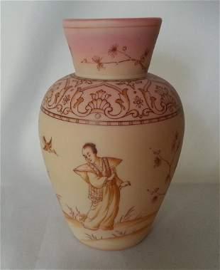 Burmese Glass Enameled Vase Webb Mt. Washington