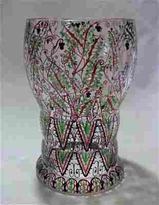Bohemian Wiener Werkstatte Era Hand Painted Glass Vase