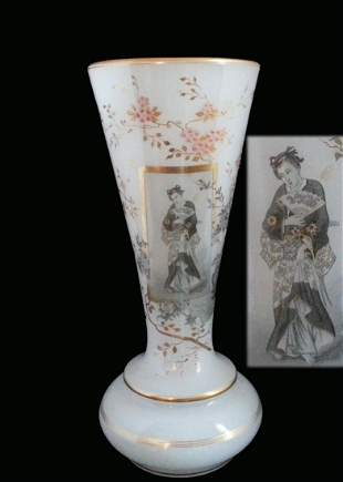 Opaline Japonisme Geisha Decorated Antique Glass Vase
