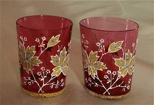 Pair Moser Cranberry Glass Cordials Coralene