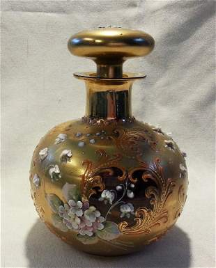 Moser Glass Cologne Bottle Perfume High Relief Flowers