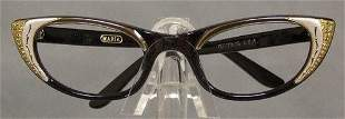 UNWORN 1950s 1960s Black Eyeglasses Frames Rhinestones