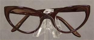 UNWORN Mocha 1950s 1960s Cateye Eyeglasses Frames