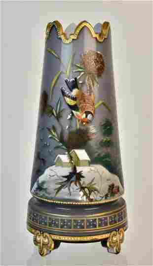 Exquisite Victorian Glass Footed Vase Artfully Enameled