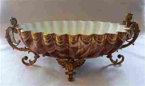 Loetz Marmorierte Glass Centerpiece Bowl Figural Holder
