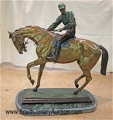 BEAUTIFUL signed Bonheur bronze on marble of a race
