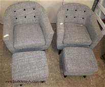 PR tweed barrel back club chairs and ottomans