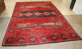 COOL Western style deep red, horses/trees rug