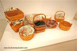 Group lot of 7 Longaberger baskets with handles and
