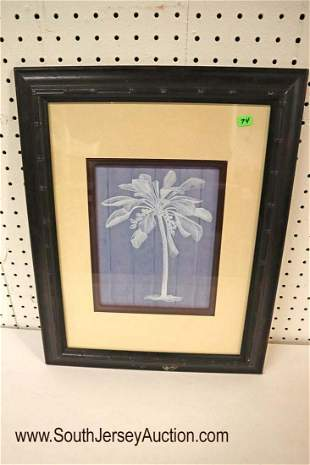 """Palm tree print in a modern bamboo style frame 16"""" w x"""