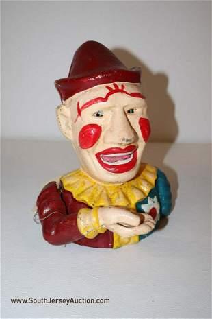 Cast Iron mechanical clown bank
