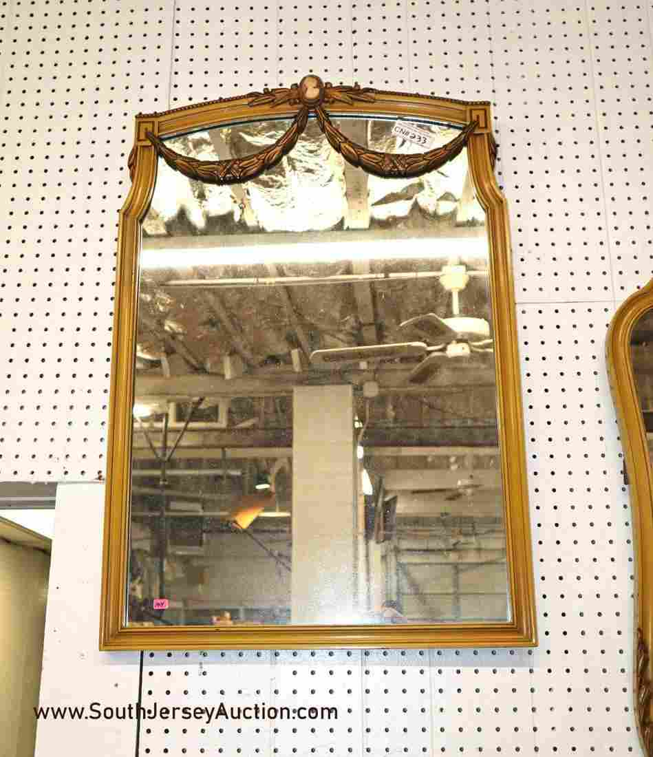 Vintage French style mirror with carved Lincoln drapes