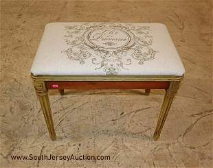 Vintage French style satin wood painted frame bench