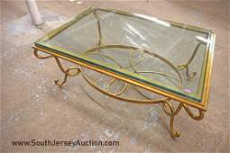 Nice modern metal base glass top decorator coffee table