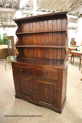Antique country pine open face 2 door 2 drawer open