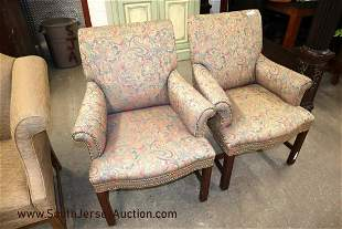Pair of upholstered decorator Chippendale style tacked