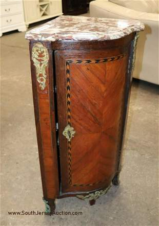 Antique French marble top inlaid corner cabinet with