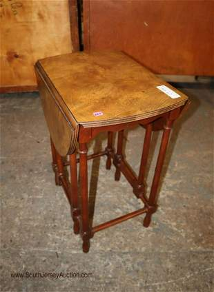 Baker petite burl walnut gate leg butterfly table in
