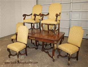 Antique 7 piece satin wood carved dining room table