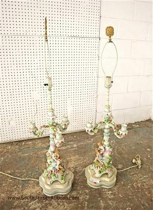 Pair of bisque Italian 3 burner candle opera lamps in