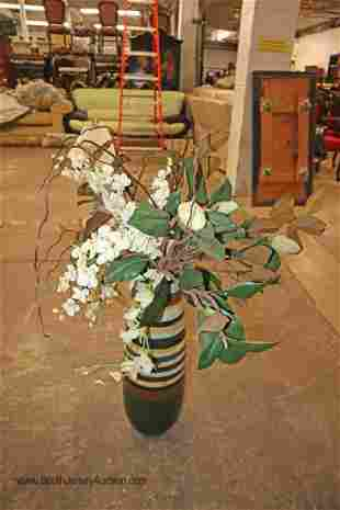 Clay hand painted vase with artificial decorative